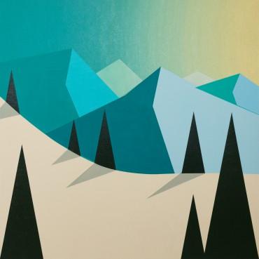 "Montañas azules. De la Serie ""País de nieve"""