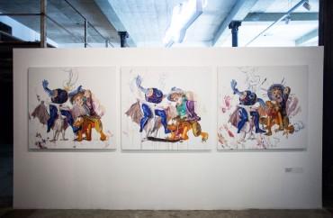 Chicken fight (Triptych)